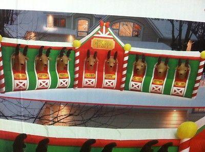 ... FOOT AIRBLOWN INFLATABLE SANTA'S 8 REINDEER STABLE YARD RARE Christmas