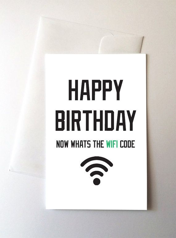 WiFi Code Birthday Card by TrillArtCo on Etsy