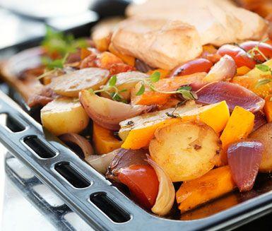 Saftig kalkon som får stekas i ugnen tillsammans med många olika färgglada grönsaker, bland annat mumsig pumpa. Till rätten serverar du en syrlig citrontimjanyoghurt och middagen är klar att avnjutas!