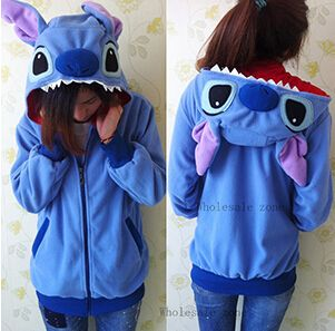NEW Winter Anime Animal Cute Cartoon Women Men's Blue Stitch Warm Polar Fleece Hoodie with Ears Hooded Sweatshirt women clothing-in Hoodies & Sweatshirts from Women's Clothing & Accessories on Aliexpress.com | Alibaba Group