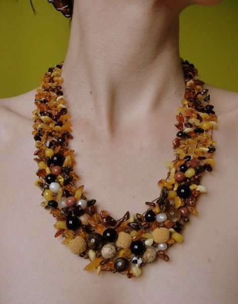NECKLACE with Amber , agate, lava, jasper, pearls, from Jewelry&Hand Made by DaWanda.com