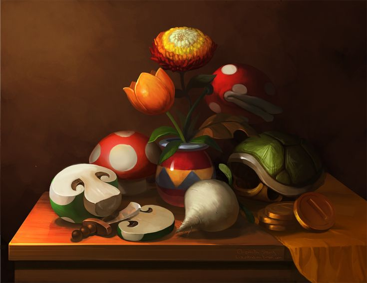 """Since making mock classical paintings is kind of my thing, I thought it would be fun to branch out from portraiture. It occurred to me that Mario had a lot of vegetables and flowers, such as may be found in a regular old-fashioned still life, and so I painted this. Every single thing in this painting came from a Mario game - even the vase. I'll be bringing this one to Toronto Fan Expo with me this year."""