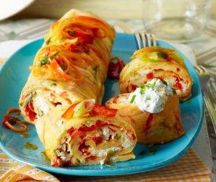 Ofenpfannkuchen mit Paprika und Feta