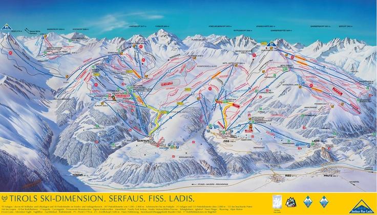 Ski Dimension, Serfaus, Fiss, Ladis Piste Map.