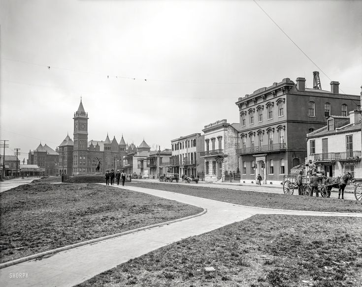 """Shorpy Historical Photo Archive :: The Elks: Circa 1906. """"Elks Place, New Orleans, Louisiana."""" Brought to you by Anna Held. Forgotten New Orleans: The old criminal court building and parish prison in the background. 8x10 inch glass negative, Detroit Publishing Co."""