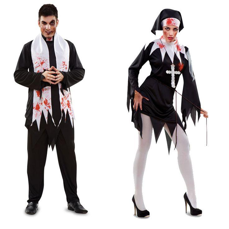 disfraz pareja de religiosos sangriento hombre y mujer lo pasar n de