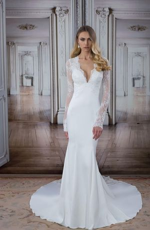 V Neck Sheath Wedding Dress In Beaded Embroidery Bridal Gown Style Number 14483