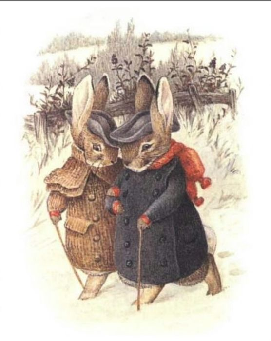 Bunnies in Winter. Obsessed with all these Beatrix Potter pictures appearing in my feed!