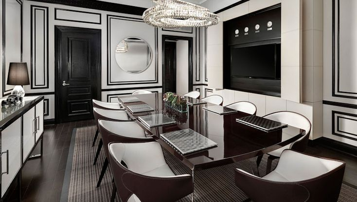 The dining room of the Bentley Suite at the St. Regis Hotel in New York City. The paneling, the chairs,the color, sigh......