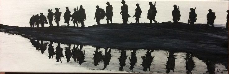"""""""The Western Front WW1"""" part of Centenary Collection by Paula Benson 2016. Ink on canvas."""