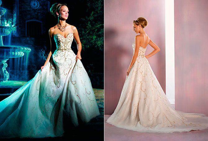 Cenicienta: si la doncella de Disney sigue siendo tu princesa favorita, entonces éste es el vestido perfecto para ti. Un vestido tradicional y clásico, decorado con perlas y diamantes y un corte en la cintura que acentúa el escote de princesa.