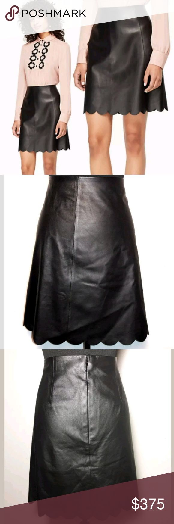 """Kate Spade Black Leather Scallop Skirt NWT Kate Spade Mini Skirt Womens 6 Black 100% Lamb Leather Scallop Edge Hem NEW  This is a brand new that has never been worn.  There is a minor unnoticeable flaw in the front inseam. Please view image.  Skirt the Rules. """"She is quick and curious and playful and strong""""  Retail Price $548  Thank you for Looking & Sharing Happy Poshing😄💗 kate spade Skirts Mini"""