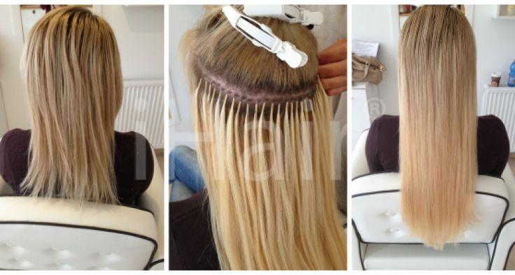 60 cm-es hajhosszabbítás keratinos hőillesztéses technikával 10-es világosszőke színű hajfesték alkalmazásával