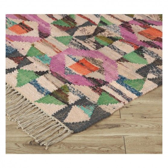 Mosaic Multi Coloured Recycled Cotton Flat Weave Rug 170 X