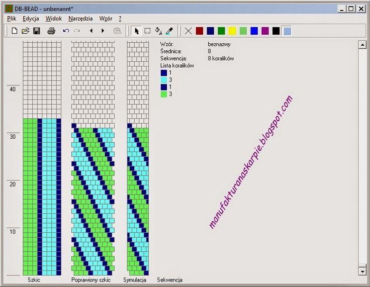 bead crochet rope pattern, 8 rows