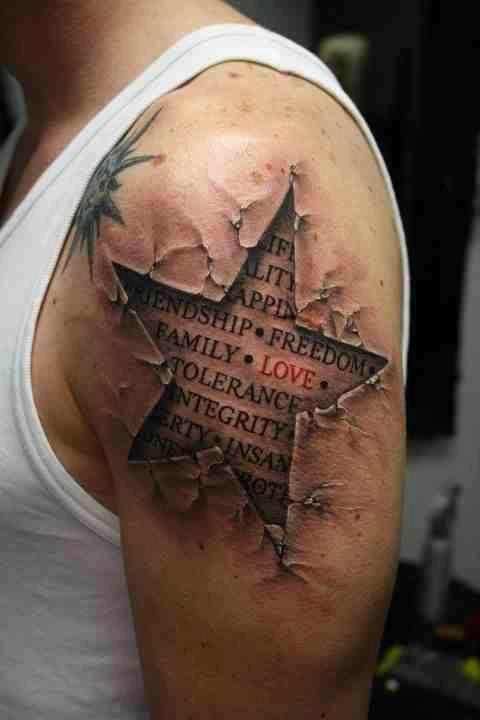 Types of 3D Tattoos for Men: 3d Star Tattoo Design For Men ~ Tattoo Design Inspiration