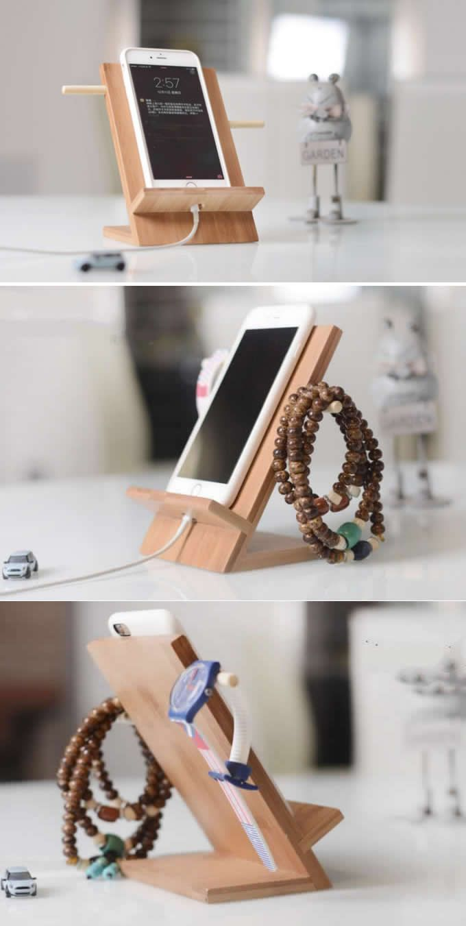 Bamboo iPad Cell Phone Charging Station Dock Holder