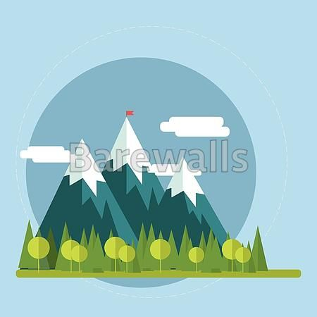 """""""Flat nature landscape illustration"""" - Landscape Illustration posters and prints available at Barewalls.com"""