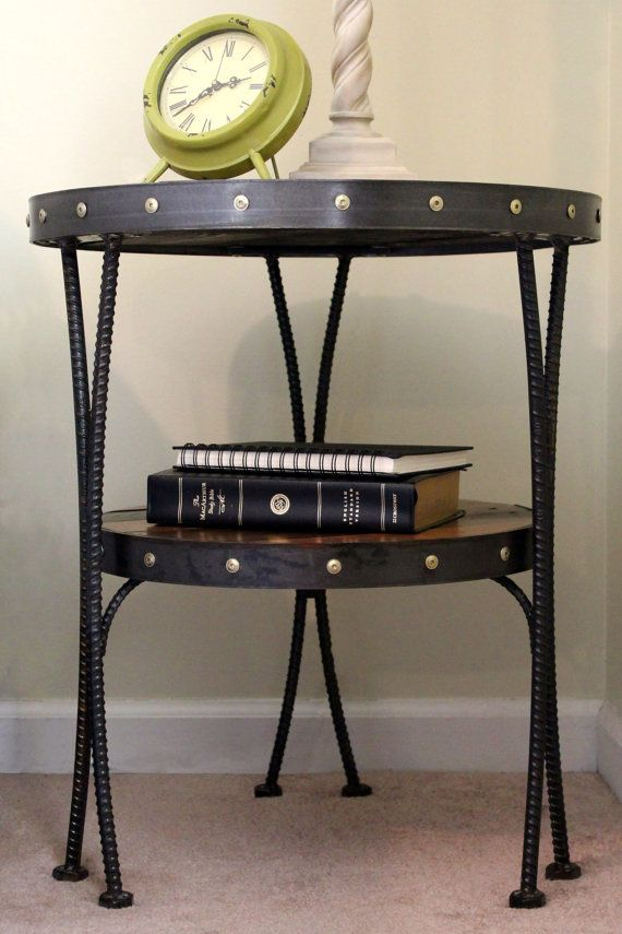 Reclaimed Wood End Table Round End Table Metal End Table