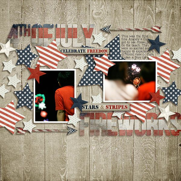 t4 - Scrapbook.com  I can't tell what's in the pictures, but I like the stars and stripes embellishments!  Could be done with red & white and maple leaves...