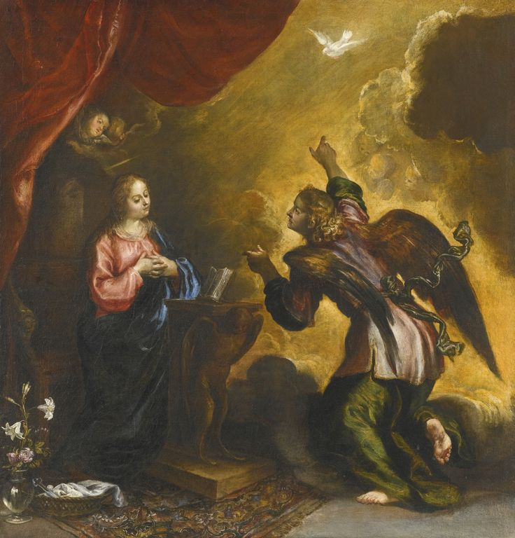 Francisco Camilo MADRID 1615 - 1673 THE ANNUNCIATION oil on canvas 85.5 by 82.5 cm.; 33 3/4  by 32 1/2  in.: