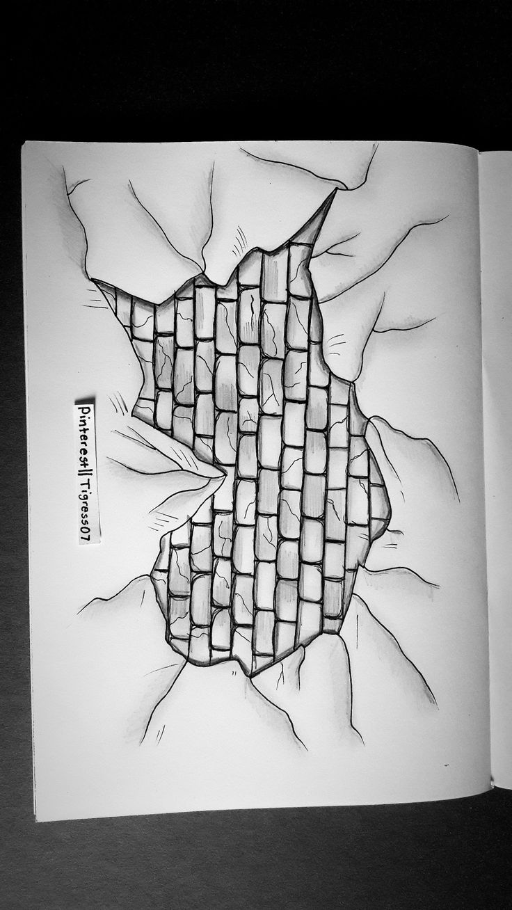 Tried drawing a cracked wall. Pinterest|| @Tigress07. #drawing #art #creativity #pencil 23/03/18