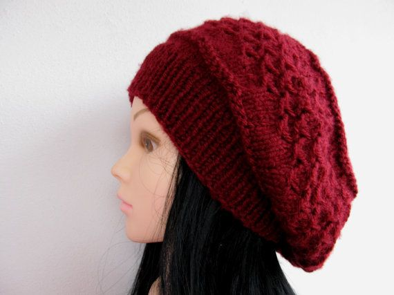 Check out this item in my Etsy shop https://www.etsy.com/listing/213221120/burgundy-women-knit-beanie-beret-unique
