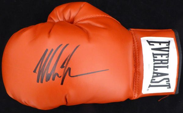 Mike Tyson Autographed Red Everlast Boxing Glove LH Signed In Black TriStar