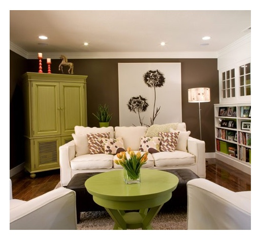 Living Room: Lime Green And Brown. This Would Be A Great Color Scheme For  The Basement Part 83