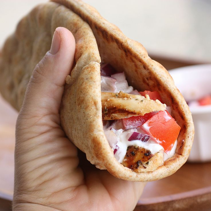 Chicken Gyros - Greek marinated chicken topped with fresh tzatziki sauce. the-girl-who-ate-everything.com