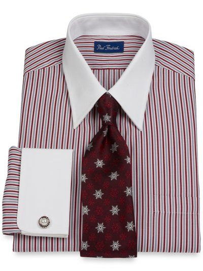2-Ply Cotton Alternating Satin Stripe Straight Collar French Cuff Dress  Shirt from Paul Fredrick 48095d5667