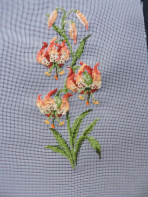 Tiger Lilies Lily Floral Completed Petit Point Design Flowers