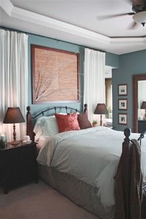 Teal and coral master bedroom: Contemporary Bedrooms, Color Schemes, Bedrooms Design, Curtains Rods, Blue Wall, Wall Color, Master Bedrooms, Guest Rooms, Bedrooms Color