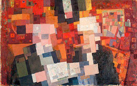 Ernst Mether-Borgström: Kahvilassa, 1955, öljy levylle, 50x80 cm - Bukowskis F172