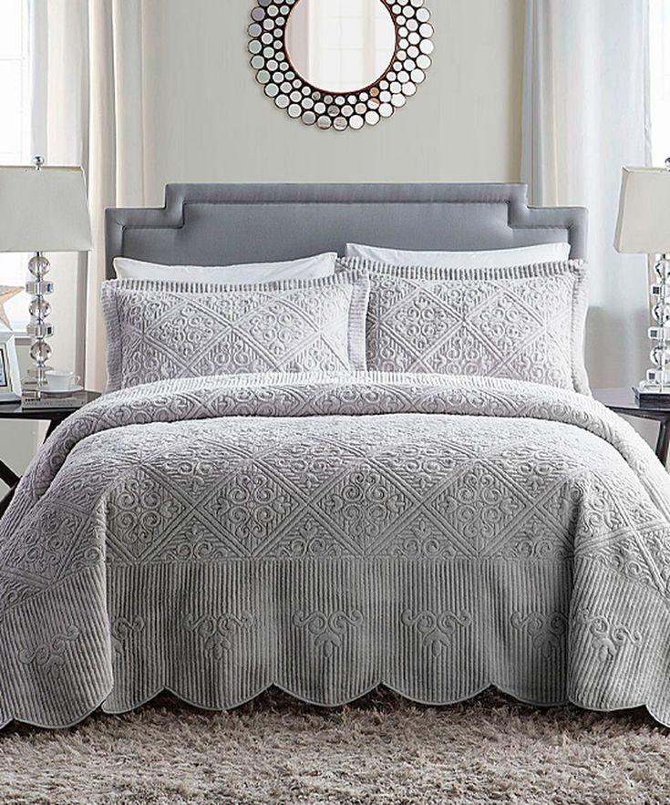 Bedroom Athletics Keira Bedroom Furniture Ideas 2016 Teal Blue Bedroom Ideas Bedroom Ceiling Light Fixtures Ideas: Look At This Gray Westland Quilted Bedspread Set On