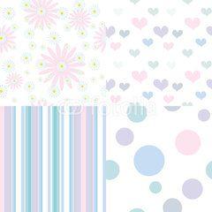 set of  seamless pastel patterns
