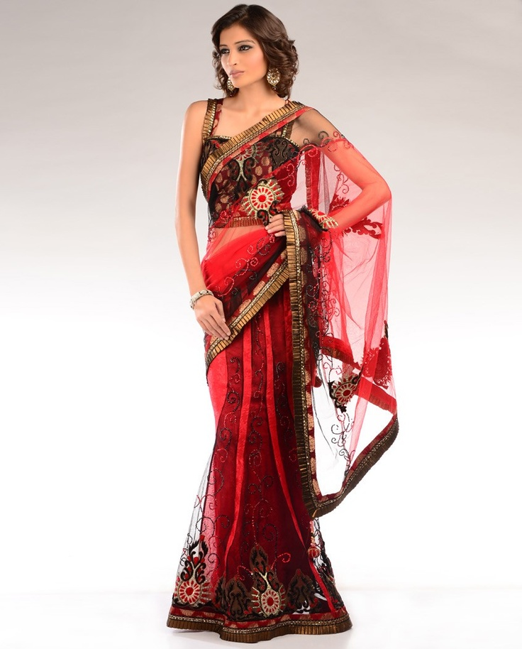 Vermillion Red Sequined Sari  by DIA