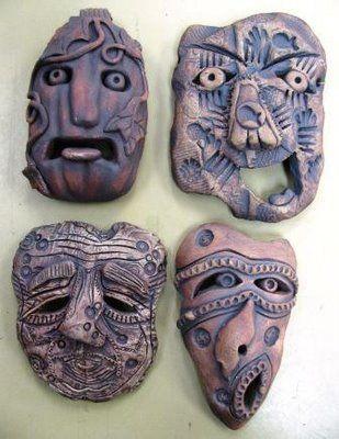 texture imprint masks, could make strange shapes by slumping  - yr 8-9