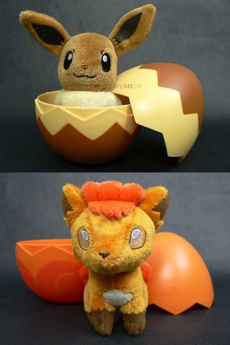 Lot of 2 Takara Tomy Pokemon Egg Plush Toy T02 T03 Eevee Vulpix Doll with Egg | eBay