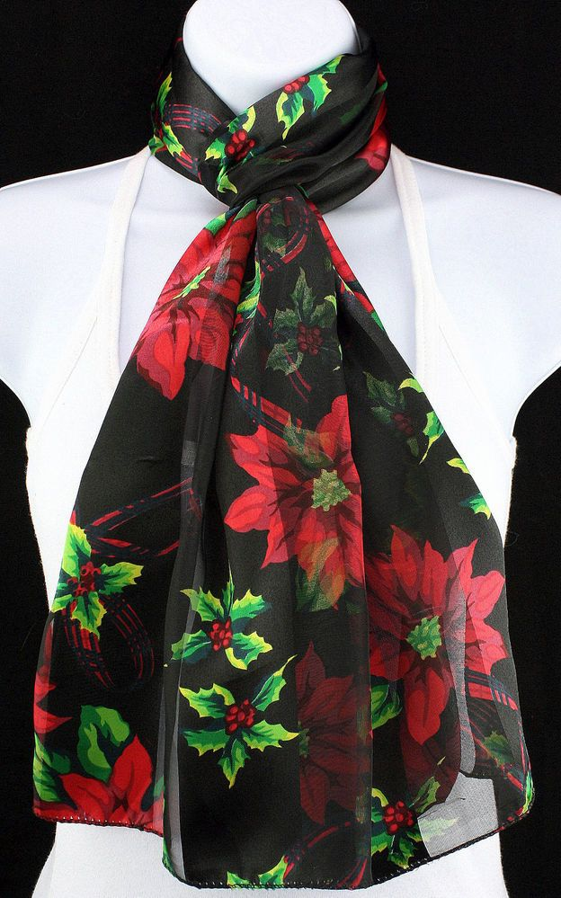 New Poinsettia Womens Christmas Holiday Black Gift Scarf