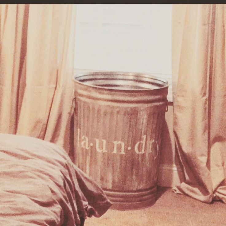Hand painted galvanized trash can. Perfect for the Industrial Farmhouse look. Painted by The Shabby Bee.