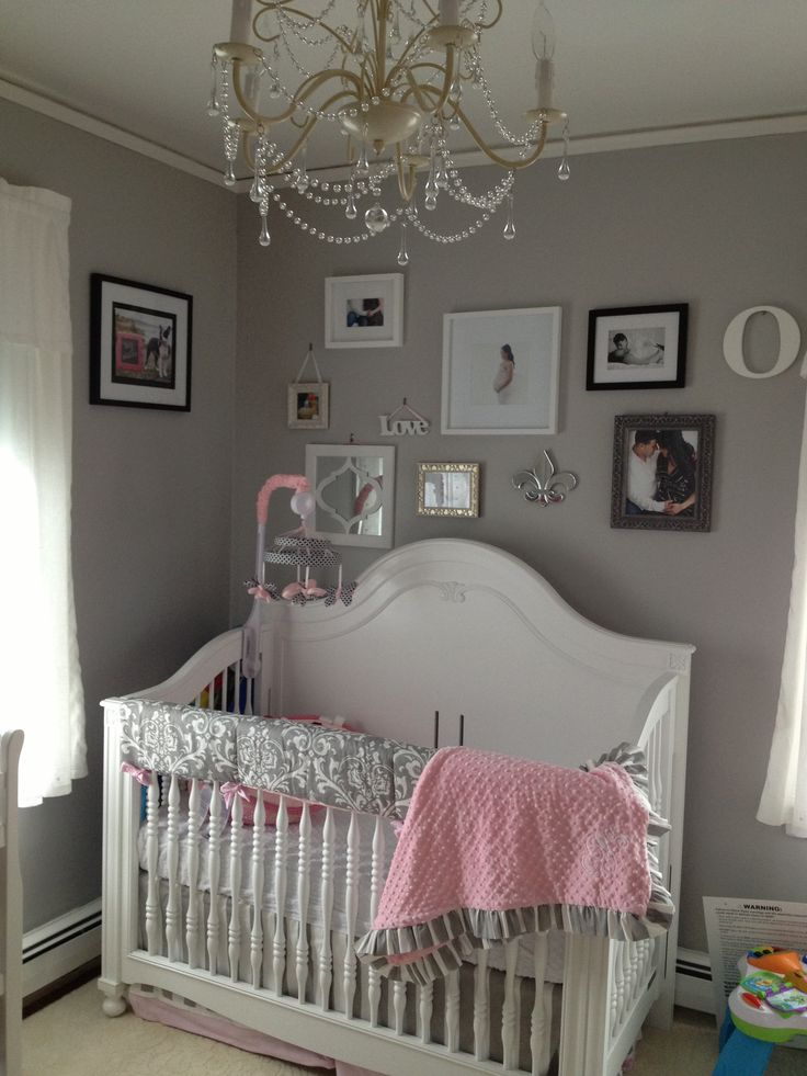 Pink grey white baby girls room babies room pinterest for Baby room decoration girl