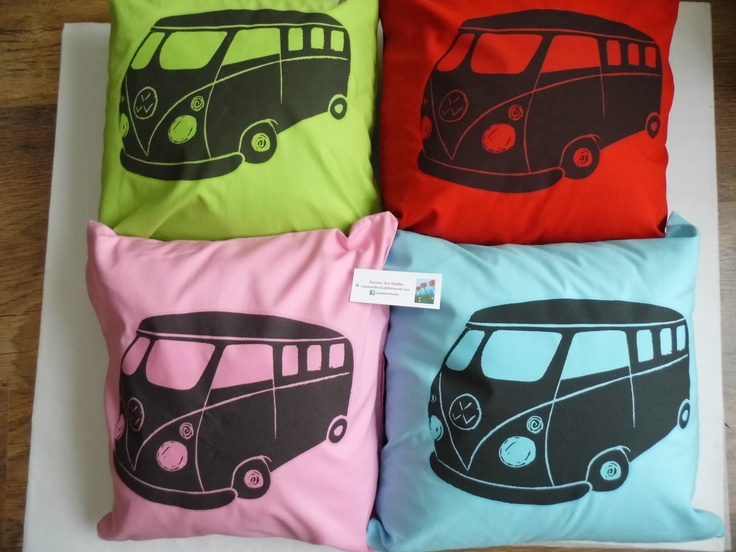 Campervan cushion covers (41x41cm) based on my original linoprint design £15 each + p