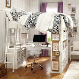 I love the idea of a loft bed with a bulletin board! It's very big, too, for all of you wild sleepers out there! Zebra!