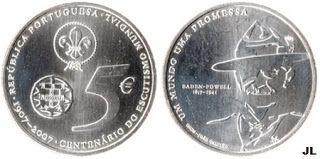 Moedas de Euro emitidas por Portugal: Centenário do Escutismo Mundial - Valor 5.00€