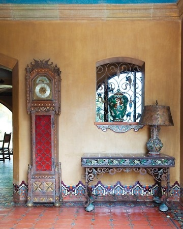 Adamson House is a potpourri of styles. The grandfather clock is likely a 1920s piece from Barker Bros. in Los Angeles, which sold Spanish Colonial reproduction furniture.