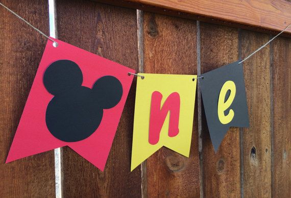 Mickey Mouse High Chair Banner/1st Birthday Banner/Mickey Mouse Banner/Mickey Mouse Clubhouse/Cake Smash/Red Black Yellow