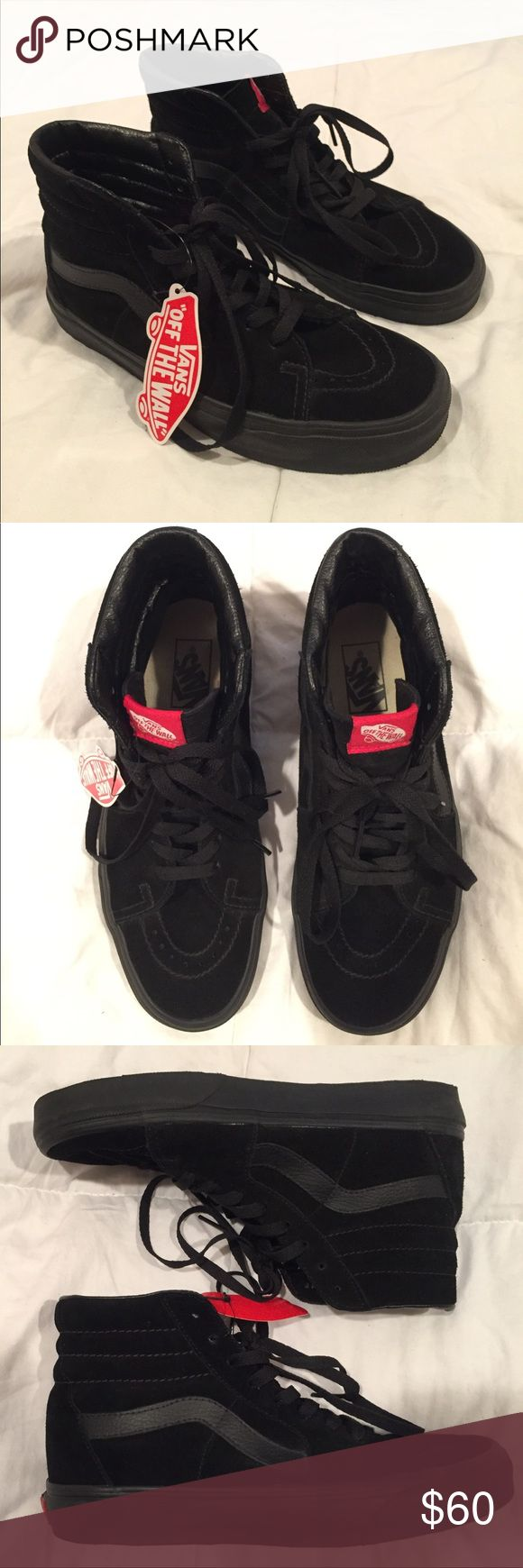 Vans Black Suede Sk8-Hi Sneakers Worn very lightly, women's size 9, original laces. Suede material with leather accents. All black. High top. Vans Shoes Sneakers