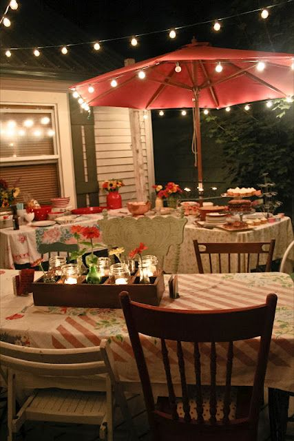 Backyard summer dinner. LOVE LOVE LOVE the mix and match chairs