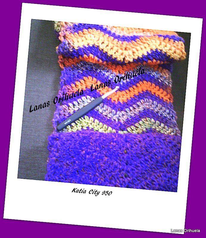 Bufanda cuello doble tejida en ganchillo con punto zig - Lanas y punto ...